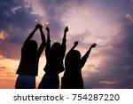 asian group of friends lighting ...   Shutterstock . vector #754287220
