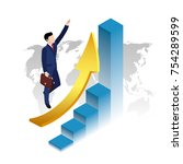 success in business  a man in a ... | Shutterstock .eps vector #754289599