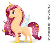 sweet unicorn beige pony... | Shutterstock .eps vector #754290760