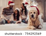 merry christmas and happy new... | Shutterstock . vector #754292569