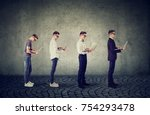 young man with laptop computer... | Shutterstock . vector #754293478