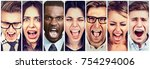 group of angry people screaming | Shutterstock . vector #754294006