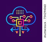 outline icon cloud based... | Shutterstock .eps vector #754294060