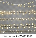christmas lights isolated on... | Shutterstock .eps vector #754294360