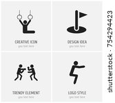 set of 4 editable fitness icons....