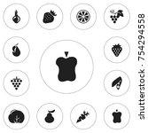 set of 12 editable fruits icons....