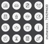 set of 16 editable meal outline ...   Shutterstock .eps vector #754294630