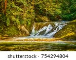 waterfall of eistobel  isny im... | Shutterstock . vector #754294804