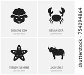 set of 4 editable animal icons. ...