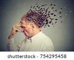 memory loss due to dementia.... | Shutterstock . vector #754295458