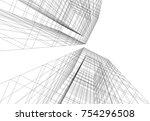 architecture 3d concept | Shutterstock .eps vector #754296508