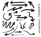 handdrawn set of vector arrows... | Shutterstock .eps vector #754303879