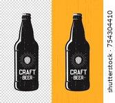 textured craft beer bottle... | Shutterstock .eps vector #754304410
