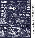 bike poster tee graphic design | Shutterstock .eps vector #754307158