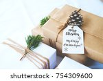 christmas background   craft... | Shutterstock . vector #754309600