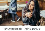 young pretty spanish woman in... | Shutterstock . vector #754310479