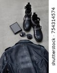 set of back black leather punk... | Shutterstock . vector #754314574