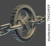gear on the steel chain... | Shutterstock . vector #754314919