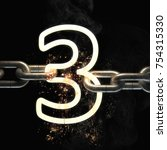number three on the steel chain ... | Shutterstock . vector #754315330