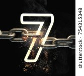 number seven on the steel chain ... | Shutterstock . vector #754315348