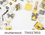 flat lay christmas or party... | Shutterstock . vector #754317853
