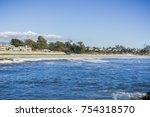 View towards Twin Lakes State Beach from the nearby jetty, Santa Cruz, California