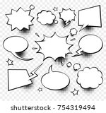 a set of comic speech bubbles... | Shutterstock .eps vector #754319494