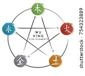 chinese five elements   vector... | Shutterstock .eps vector #754323889