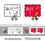 coupon buy one get one linear... | Shutterstock .eps vector #754324558