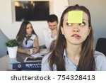 funny young girl office worker  ... | Shutterstock . vector #754328413
