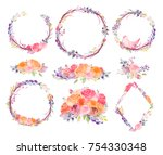 watercolor flowers leaves... | Shutterstock .eps vector #754330348