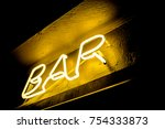 neon inscription bar on the... | Shutterstock . vector #754333873