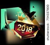vector new year 2018 poster... | Shutterstock .eps vector #754337800