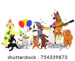 Stock vector party cats and dogs group 754339873