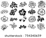 collection of flowers elements | Shutterstock . vector #754340659