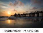 sunset at the naples pier   Shutterstock . vector #754342738