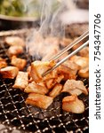 delicious entrails pan or grill | Shutterstock . vector #754347706