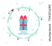 cute christmas card with... | Shutterstock .eps vector #754351690