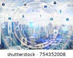 double exposure of cityscape... | Shutterstock . vector #754352008