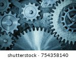 Cogs And Gears Blue Metal...