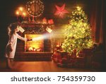 christmas night. baby girl with ... | Shutterstock . vector #754359730