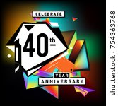 40th years anniversary card... | Shutterstock .eps vector #754363768