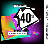 40th years anniversary card... | Shutterstock .eps vector #754363780