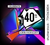 40th years anniversary card... | Shutterstock .eps vector #754363804