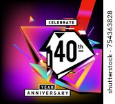 40th years anniversary card... | Shutterstock .eps vector #754363828