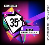 35th years anniversary card... | Shutterstock .eps vector #754365484