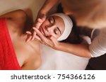 spa treatment. face massage.... | Shutterstock . vector #754366126