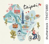 taiwan travel symbols... | Shutterstock .eps vector #754371880
