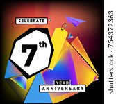 7th years anniversary card with ... | Shutterstock .eps vector #754372363