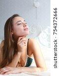 beautiful brunette woman at... | Shutterstock . vector #754372666